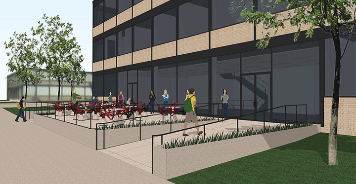 West plaza rendering for the Life Sciences Building