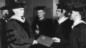 Lee de Forest receiving honorary doctorate from Lewis Institute
